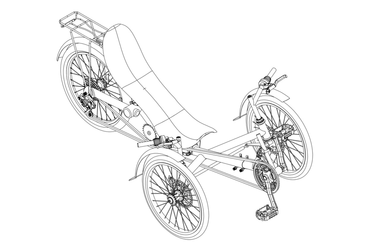 Складной трайк STANDART без подвески | Specbike Technics